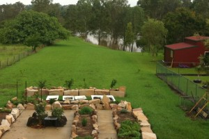 a backyard spared from the Queensland flood